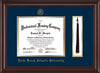Image of Palm Beach Atlantic University Diploma Frame - Mahogany Lacquer - w/Embossed Seal & Name - Tassel Holder - Navy on Gold mats