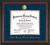 Image of Palm Beach Atlantic University Diploma Frame - Rosewood - w/24k Gold-Plated Medallion PBA Name Embossing - Navy Suede on Gold mats