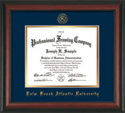 Image of Palm Beach Atlantic University Diploma Frame - Rosewood - w/Embossed Seal & Name - Navy on Gold mats