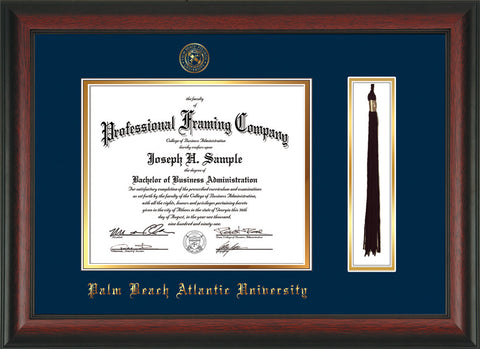 Image of Palm Beach Atlantic University Diploma Frame - Rosewood - w/Embossed Seal & Name - Tassel Holder - Navy on Gold mats