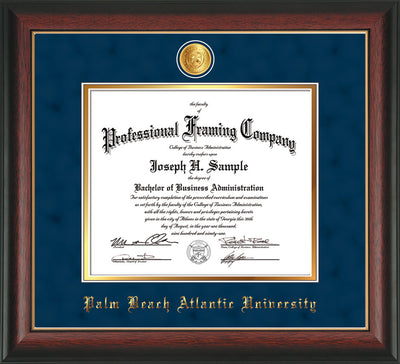 Image of Palm Beach Atlantic University Diploma Frame - Rosewood w/Gold Lip - w/24k Gold-Plated Medallion PBA Name Embossing - Navy Suede on Gold mats