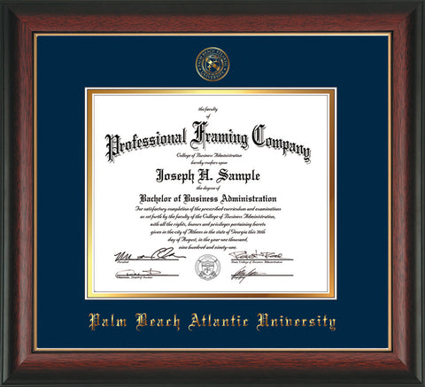 Image of Palm Beach Atlantic University Diploma Frame - Rosewood w/Gold Lip - w/Embossed Seal & Name - Navy on Gold mats