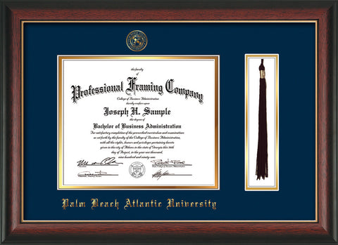 Image of Palm Beach Atlantic University Diploma Frame - Rosewood w/Gold Lip - w/Embossed Seal & Name - Tassel Holder - Navy on Gold mats