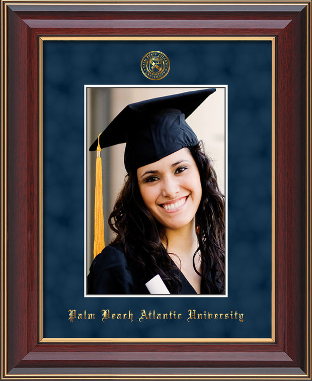 Image of Palm Beach Atlantic University 5 x 7 Photo Frame - Cherry Lacquer - w/Official Embossing of PBA Seal & Name - Single Navy Suede mat