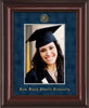 Image of Palm Beach Atlantic University 5 x 7 Photo Frame - Mahogany Lacquer - w/Official Embossing of PBA Seal & Name - Single Navy Suede mat