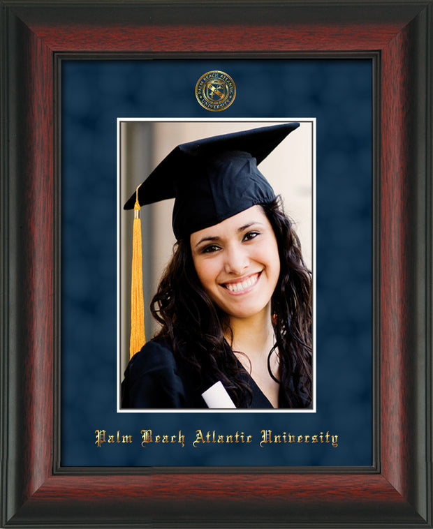 Image of Palm Beach Atlantic University 5 x 7 Photo Frame - Rosewood - w/Official Embossing of PBA Seal & Name - Single Navy Suede mat