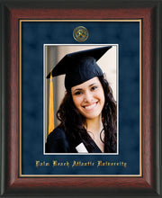 Image of Palm Beach Atlantic University 5 x 7 Photo Frame - Rosewood w/Gold Lip - w/Official Embossing of PBA Seal & Name - Single Navy Suede mat