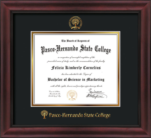 Image of Pasco-Hernando State College Diploma Frame - Cherry w/Black Lip - w/Embossed PHSC Seal & Name - Black on Gold mat