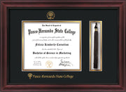 Image of Pasco-Hernando State College Diploma Frame - Cherry w/Black Lip - w/Embossed PHSC Seal & Name - Tassel Holder - Black on Gold mat