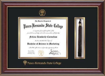 Image of Pasco-Hernando State College Diploma Frame - Cherry Lacquer - w/Embossed PHSC Seal & Name - Tassel Holder - Black on Gold mat
