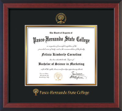 Image of Pasco-Hernando State College Diploma Frame - Cherry Reverse - w/Embossed PHSC Seal & Name - Black on Gold mat
