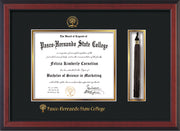 Image of Pasco-Hernando State College Diploma Frame - Cherry Reverse - w/Embossed PHSC Seal & Name - Tassel Holder - Black on Gold mat