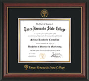 Image of Pasco-Hernando State College Diploma Frame - Rosewood w/Gold Lip - w/Embossed PHSC Seal & Name - Black on Gold mat