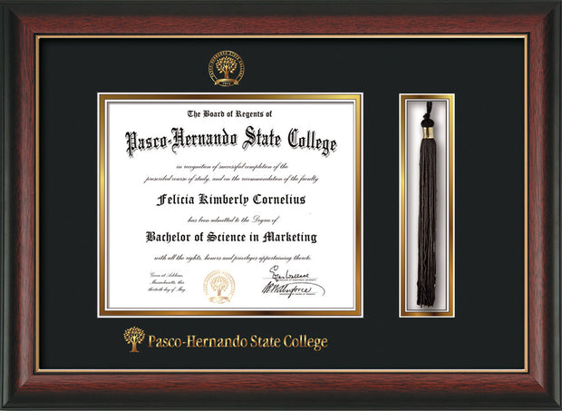Image of Pasco-Hernando State College Diploma Frame - Rosewood w/Gold Lip - w/Embossed PHSC Seal & Name - Tassel Holder - Black on Gold mat