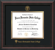 Image of Pasco-Hernando State College Diploma Frame - Mahogany Braid - w/Embossed PHSC Seal & Name - Black on Gold mat