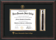 Image of Pasco-Hernando State College Diploma Frame - Mahogany Braid - w/Embossed PHSC Seal & Name - Tassel Holder - Black on Gold mat