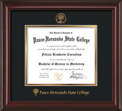 Image of Pasco-Hernando State College Diploma Frame - Mahogany Lacquer - w/Embossed PHSC Seal & Name - Black on Gold mat