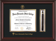 Image of Pasco-Hernando State College Diploma Frame - Mahogany Lacquer - w/Embossed PHSC Seal & Name - Tassel Holder - Black on Gold mat