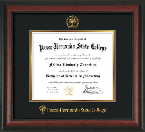 Image of Pasco-Hernando State College Diploma Frame - Rosewood - w/Embossed PHSC Seal & Name - Black on Gold mat