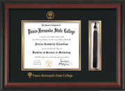 Image of Pasco-Hernando State College Diploma Frame - Rosewood - w/Embossed PHSC Seal & Name - Tassel Holder - Black on Gold mat