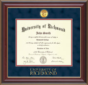 Image of University of Richmond Diploma Frame - Cherry Lacquer - w/24k Gold-Plated Medallion UR Wordmark Embossing - Navy Suede on Red mats