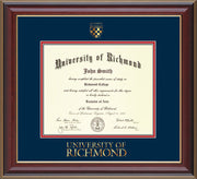 Image of University of Richmond Diploma Frame - Cherry Lacquer - w/Embossed Seal & Wordmark - Navy on Red mats