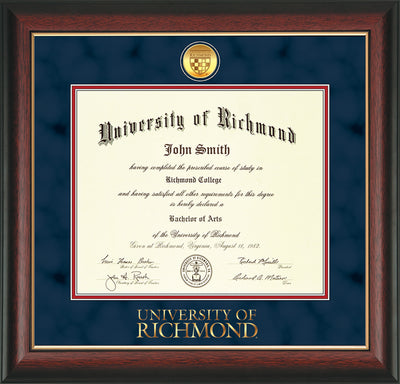 Image of University of Richmond Diploma Frame - Rosewood w/Gold Lip - w/24k Gold-Plated Medallion UR Wordmark Embossing - Navy Suede on Red mats