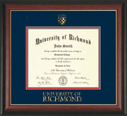 Image of University of Richmond Diploma Frame - Rosewood w/Gold Lip - w/Embossed Seal & Wordmark - Navy on Red mats