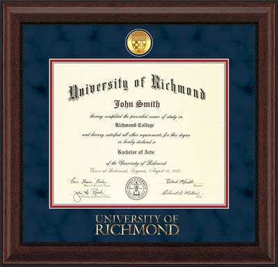 Image of University of Richmond Diploma Frame - Mahogany Bead - w/24k Gold-Plated Medallion UR Wordmark Embossing - Navy Suede on Red mats