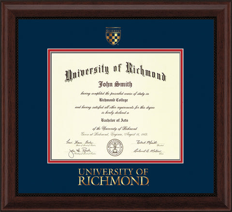 Image of University of Richmond Diploma Frame - Mahogany Bead - w/Embossed Seal & Wordmark - Navy on Red mats