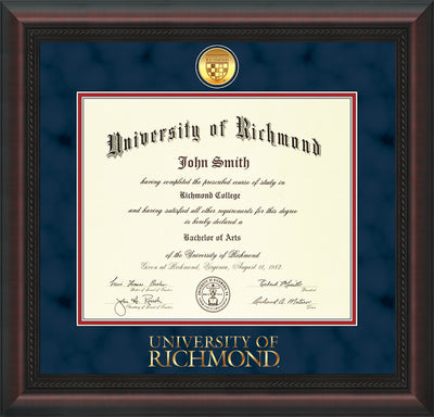 Image of University of Richmond Diploma Frame - Mahogany Braid - w/24k Gold-Plated Medallion UR Wordmark Embossing - Navy Suede on Red mats