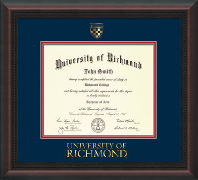 Image of University of Richmond Diploma Frame - Mahogany Braid - w/Embossed Seal & Wordmark - Navy on Red mats