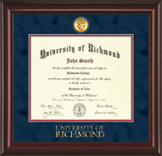 Image of University of Richmond Diploma Frame - Mahogany Lacquer - w/24k Gold-Plated Medallion UR Wordmark Embossing - Navy Suede on Red mats
