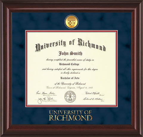 image of university of richmond diploma frame mahogany lacquer w24k gold