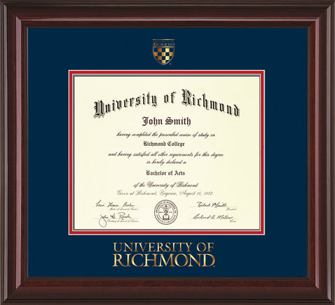 Image of University of Richmond Diploma Frame - Mahogany Lacquer - w/Embossed Seal & Wordmark - Navy on Red mats - LAW