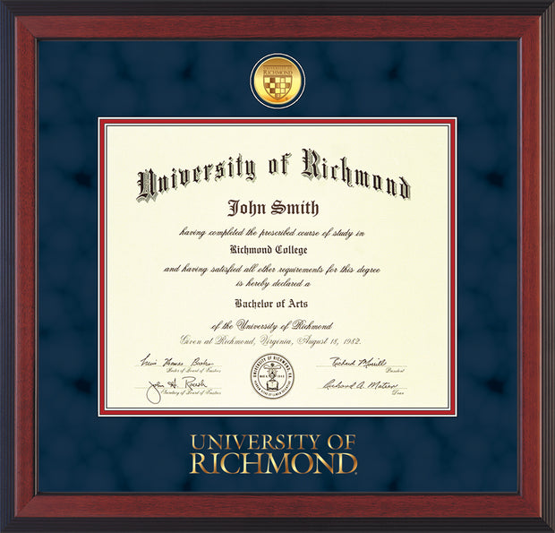 Image of University of Richmond Diploma Frame - Cherry Reverse - w/24k Gold-Plated Medallion UR Wordmark Embossing - Navy Suede on Red mats