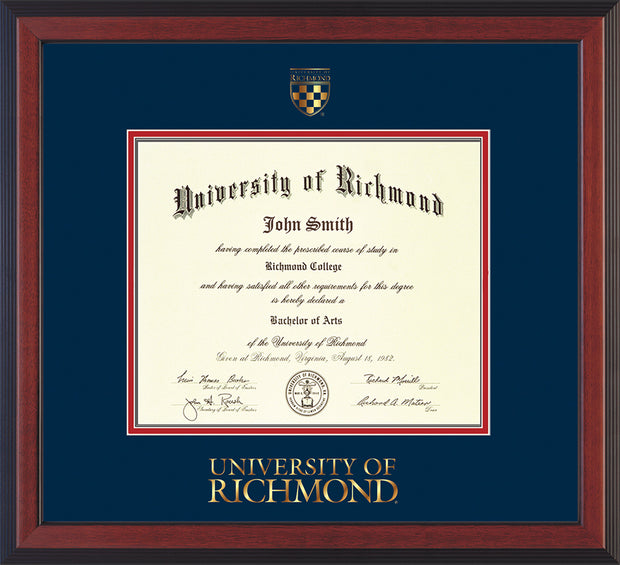 Image of University of Richmond Diploma Frame - Cherry Reverse - w/Embossed Seal & Wordmark - Navy on Red mats