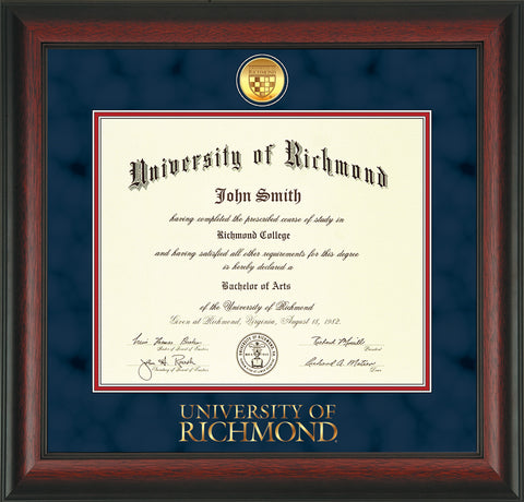 Image of University of Richmond Diploma Frame - Rosewood - w/24k Gold-Plated Medallion UR Wordmark Embossing - Navy Suede on Red mats
