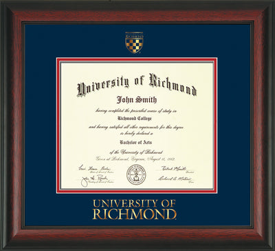 Image of University of Richmond Diploma Frame - Rosewood - w/Embossed Seal & Wordmark - Navy on Red mats