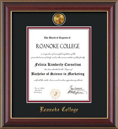 Image of Roanoke College Diploma Frame - Cherry Lacquer - w/24k Gold-Plated Medallion RC Name Embossing - Black on Maroon mats