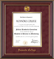 Image of Roanoke College Diploma Frame - Cherry Lacquer - w/24k Gold-Plated Medallion RC Name Embossing - Garnet Suede on Gold mats