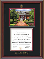Image of Roanoke College Diploma Frame - Cherry Lacquer - w/Embossed RC Seal & Name - w/Campus Watercolor - Black on Maroon mat