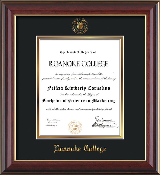 Image of Roanoke College Diploma Frame - Cherry Lacquer - w/Embossed RC Seal & Name - Black on Gold mat