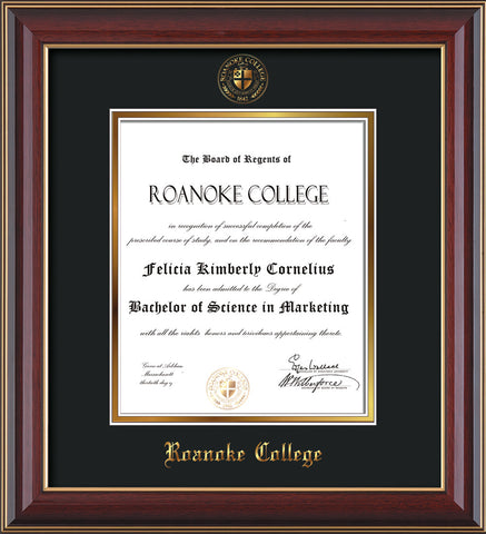 image of roanoke college diploma frame cherry lacquer wembossed rc seal