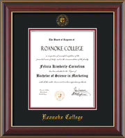 Image of Roanoke College Diploma Frame - Cherry Lacquer - w/Embossed RC Seal & Name - Black on Maroon mat