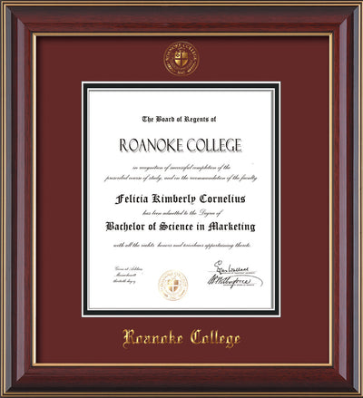 Image of Roanoke College Diploma Frame - Cherry Lacquer - w/Embossed RC Seal & Name - Maroon on Black mat