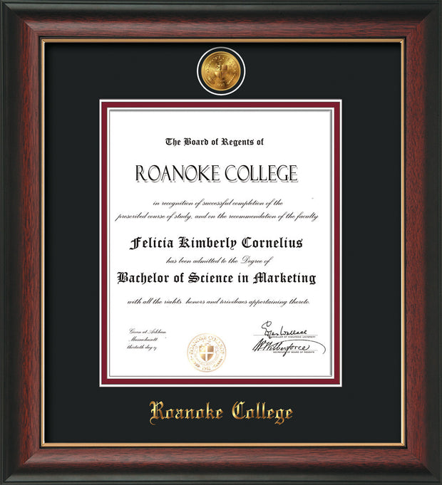 Image of Roanoke College Diploma Frame - Rosewood w/Gold Lip - w/24k Gold-Plated Medallion RC Name Embossing - Black on Maroon mats
