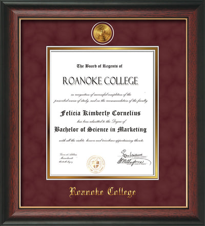 Image of Roanoke College Diploma Frame - Rosewood w/Gold Lip - w/24k Gold-Plated Medallion RC Name Embossing - Garnet Suede on Gold mats