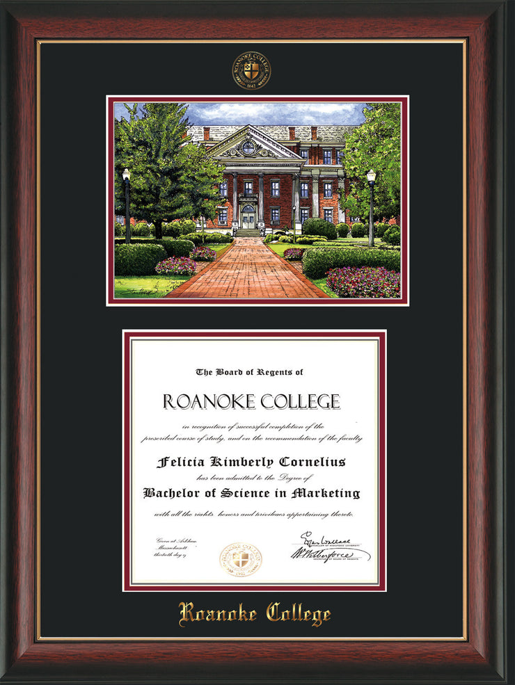Image of Roanoke College Diploma Frame - Rosewood w/Gold Lip - w/Embossed RC Seal & Name - w/Campus Watercolor - Black on Maroon mat