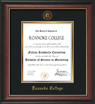 Image of Roanoke College Diploma Frame - Rosewood w/Gold Lip - w/Embossed RC Seal & Name - Black on Gold mat